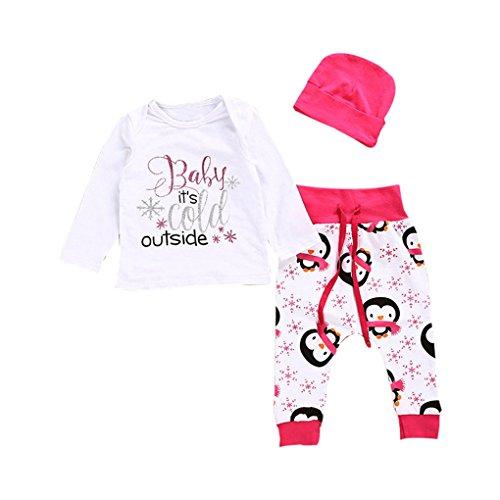 JYJM Frohe Weihnachten Baby Mädchen T-Shirt Tops + Hosen Hut Outfits Kleider Set (Größe: 12-18 Monate, Weiß)