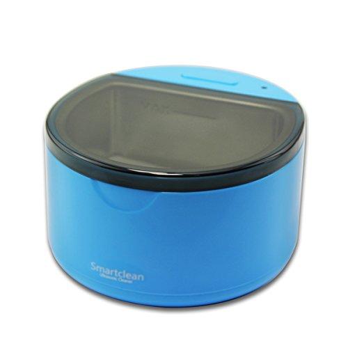 Grinigh® 360°Nettoyeur de Dentier Nettoyant à Ultra-sons Appareil de Nettoyage pour Dentaire Bracelet de Montre Bijoux Pièce de Monnaie Efficacité Professionnelle Bleu