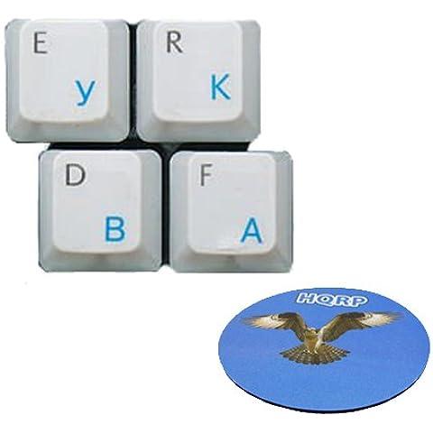 HQRP Pegatina Azul claro Rusa Transparente para Teclado con Capa Protectora para Ordenador portátil / Notebook más