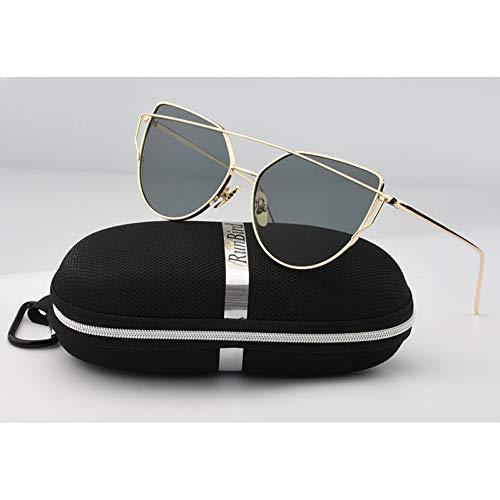 KCJKXC Frauen Cat Eye Sonnenbrillen Klassische Twin-Beams Rose Gold Sonnenbrille Für Frauen Mit Box - Box-metall-rechteckig Kollektion