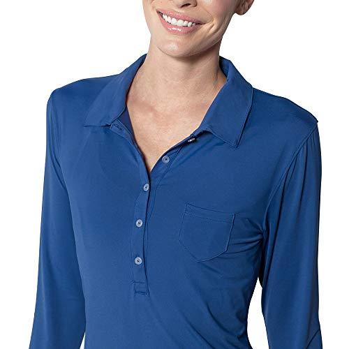 BloqUV Damen Polokleid (Sonnenschutzkleidung für Outdoor-Aktivitäten) - blau - X-Klein