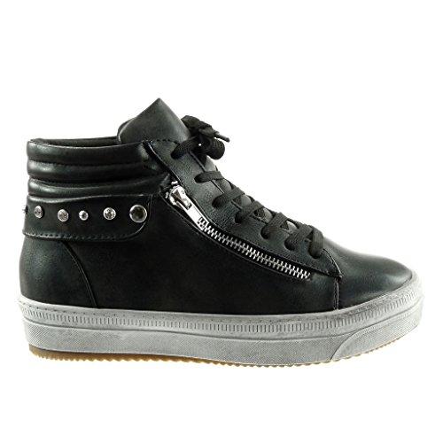 Angkorly - damen Schuhe Sneaker - vintage-stil - Nieten - besetzt - Reißverschluss - gesteppt schuhe flache Ferse 3.5 CM Schwarz