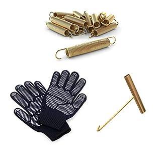 Ampel 24 Trampolin Ersatzfeder-Set bestehend aus 24 Federn, Länge Zugfeder ca. 140 mm sowie EIN Federspanner und EIN Paar Handschuhe