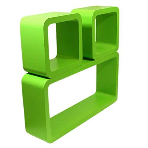set of 3 rectangular square cube wall shelves storage floating shelf rh searchfurniture co uk green glass floating shelves green oak floating shelves