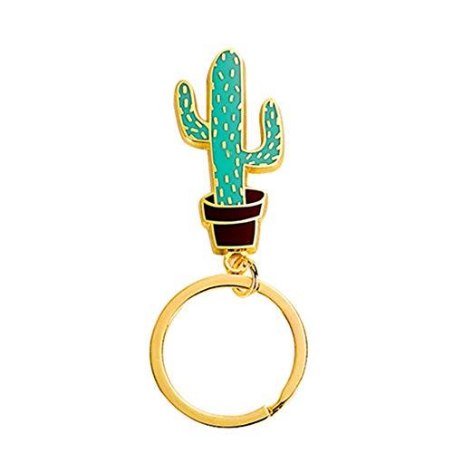 Qualität vergoldet Schlüsselbund Legierung niedlichen Kaktus Schlüsselanhänger Schlüsselanhänger Brieftasche Schlüssel Autozubehör Dekor Edelstahl Schlüssel-Clips Auto Ornamente ()