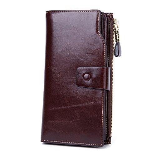 Echtleder Damen Geldbörse Groß Portemonnaie Frauen Geldbeutel mit Reißverschluss - Braun tan (Brieftasche Braun Falten Leder)