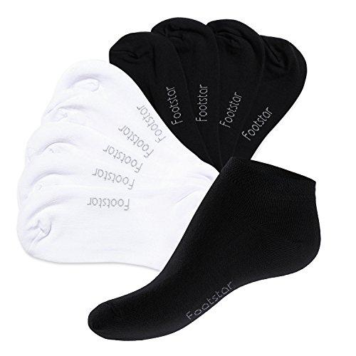 Footstar 10 Paar SNEAK IT! Unisex Sneaker Schwarz/Weiss Mix (5 x Schwarz + 5 x Weiss)-43-46