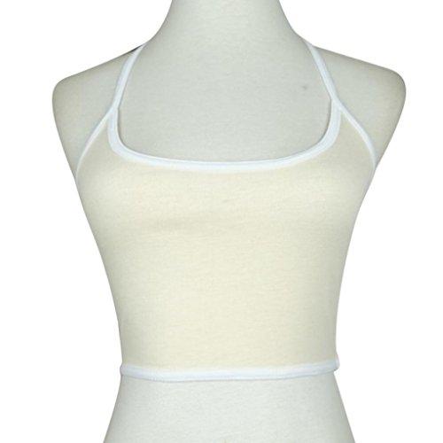 OVERMAL Femmes Boho réservoir Bustier Bra Vest Crop Top Bralette Blouse Cami Beige