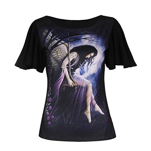 MILEEO Fledermaus Ärmel Gothic Damen T-shirt Eternal Floral Love Skull Schädel Top Tshirt Stil 4