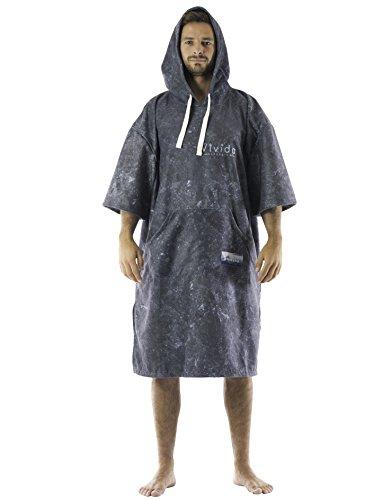 Vivida Lifestyle Poncho mit Kapuze Handtuch und Umziehilfe am Strand, beim Surfen und Schwimmen verwendbar - Black Marble, M (Junior)