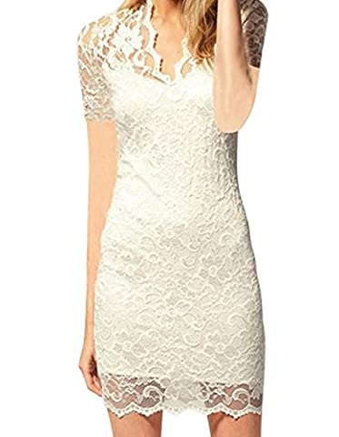 Women V Neck Slim Short Sleeve Lace See Through Mini