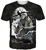 Goodstoworld T Shirt 3D Mond Wolf Druck Herren Damen Printed Sommer Lustig Beiläufige Kurzarm Cooles T-Shirts Tee Top M