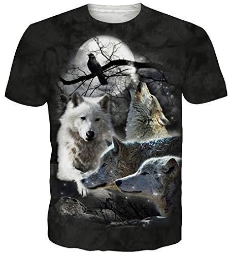 Goodstoworld T Shirt 3D Druck Herren Damen Teen Wolf Print Sommer Lustige Beiläufige Kurzarm Partner T-Shirts T-Stücke S (Bedruckte Für Teens-jungs T-shirts)