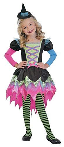 Brandsseller Mädchen Halloween Kostüm Oberhexe Verkleidung Karneval Party Fasching S (4-6 - Einfach S Motto Kostüm