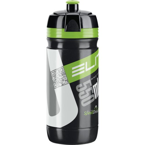 Elite Corsa -Bidón de ciclismo, color negro/verde, 550 ml