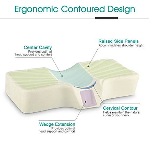 LANGRIA Anti Snore High-Density Memory Foam Bed Pillow, Therapeutic Cervical Neck Pillow with Ergonomic Contoured Head Cavity, Breathable Removable Cover for Back and Side Sleepers
