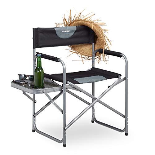 Relaxdays Regiestuhl, klappbarer Campingstuhl für Garten, Festival & Angeln, Tisch mit Getränkehalter, schwarz - Klapp Strand Camping Stuhl