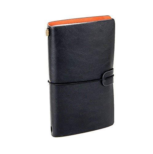 XUAN Vintage Leder Notizbuch mit Pocket Nachfüllbar Reisetagebuch Retro Tagebuch Journal book Notizblock Klein Travel Diary Leeres Buch Geschenk für Männer Jungen Mädchen Lehrer Kinder Frauen Schwarz