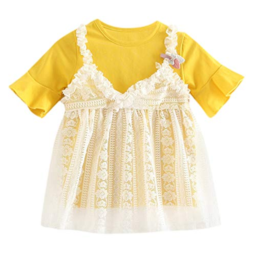 feiXIANG Spitze Kleid tüll Dress Kleidung Outfits Sling Outfits 6M-3T Baby Patchwork Maxikleider(Gelb,80)