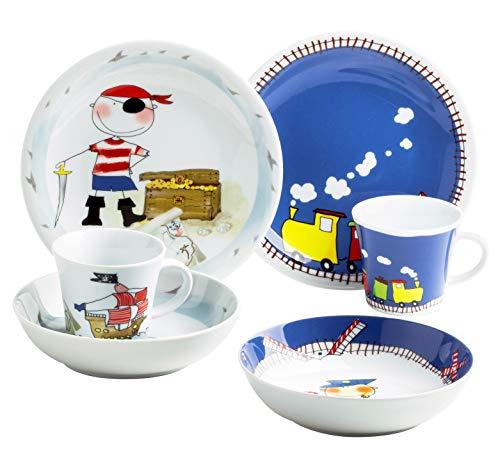 Kahla 32F259O76643C Kids Abenteuerexpress Schatzpirat Kindergeschirr Geschirrset für Jungs bunt rund 6-teilig Set Tasse Suppenteller Teller