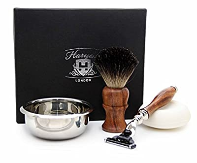 4 PIECES WOODEN SHAVING SET FOR MEN'S GROOMING.THE SET INCLUDES PURE BLACK BADGER HAIR SHAVING BRUSH,GILLETTE MACH 3 RAZOR, BOWL & FREE SOAP. PERFECT AS A GIFT THIS CHRISTMAS FOR HM.SPECIAL EDITION.