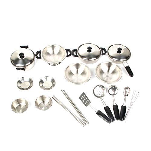 Finta Play Kitchen Toys acciaio inox Pentole Padelle Pentole giocattolo miniatura Kid cucina giocattolo Pentole Playset inglese colorato limballaggio