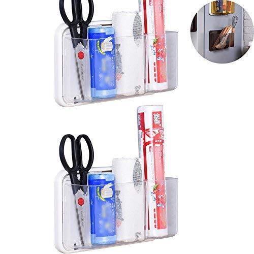 wingoffly 2Küche Magnethalter Box Organizer für Kühlschrank Mikrowelle 2 Stück Weiß