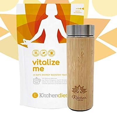 Thé Detox + Thermos/Infuseur en Bamboo - Cure Minceur - 14 Jours - 28 Infusettes - 2 Infusettes Par Jour - Vitalize Me - Ingrédients 100% Naturels