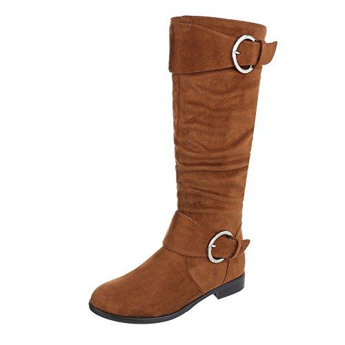 Ital-Design Klassische Stiefel Damen-Schuhe Klassischer Stiefel Blockabsatz Blockabsatz Reißverschluss Stiefel Camel, Gr 38, 0-176- (Flache Damen Stiefel Camel)