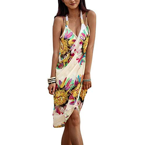 Shujin Damen Sommer Chiffon Sexy V-Ausschnitt Spaghetti Träger Rückenfrei Strand-Wickelkleid Floral Printed Sarong Wrap Urlaub Strandkleider Bikini Cover Up