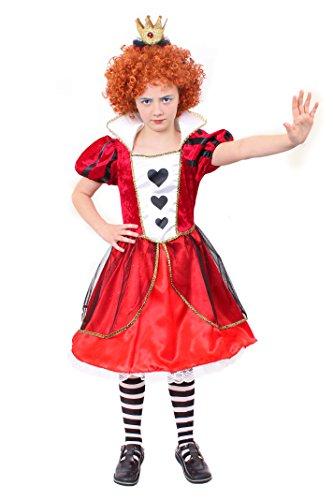 ILOVEFANCYDRESS Herz KÖNIGIN Kinder VERKLEIDUNG KOSTÜM = Alice IM WUNDERLAND = MIT Krone AN Haarband + Strumpfhose + PERÜCKE = - Alice Kostüm Kind