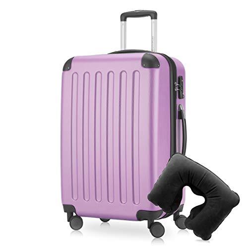 Hauptstadtkoffer - Spree Hartschalen-Koffer Koffer Trolley Rollkoffer Reisekoffer Erweiterbar, 4 Rollen, TSA, 65 cm, 74 Liter, Flieder inkl. Reise Nackenkissen