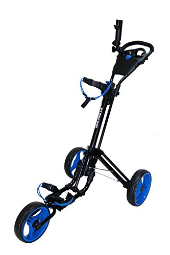 QWIK-FOLD 3 WHEEL GOLF TROLLEY PUSH PULL GOLF CART - FOOT BRAKE - ONE SECOND TO OPEN & CLOSE! (Black/Blue)