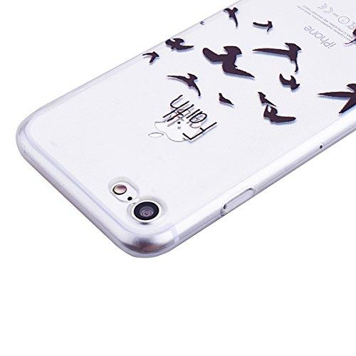 GrandEver iPhone 7 Weiche Silikon Hülle Cover Silikonhülle Crystal Klar Schlank TPU Bumper Transparent Handyhülle Weich HandyTasche Flexible Ultra Slim Anti-scratch Schutzhülle Zurück Skin Backcover T Faith