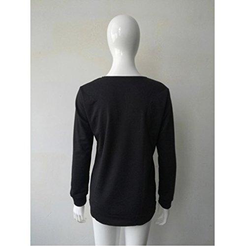 zahuihuiM, Femmes Débardeur à manches longues à manches longues Blouson à encolure T-shirt décontracté pour sport Noir