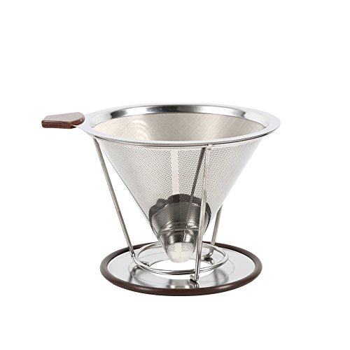 304 Stainless Steel Drip Dripper Double Layer Mesh with Cone Filter Holder 41MwdNlQ8XL