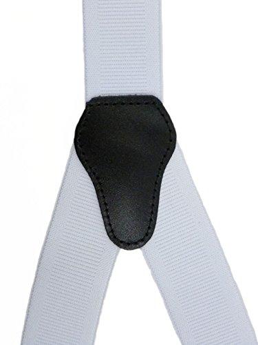 Bretelles entièrement réglable pour Homme / Femme avec 3 Clips - 3.5cm Blanc