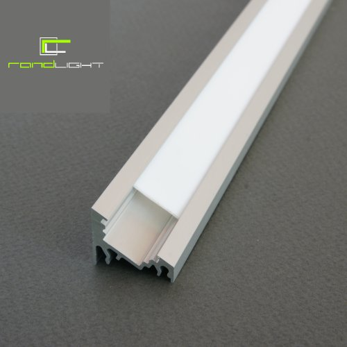 5 x LED Profil CORNER-T ALU 2m eloxiert + raureife Blende für Streifen Strips Band randlight (Einlass-licht)