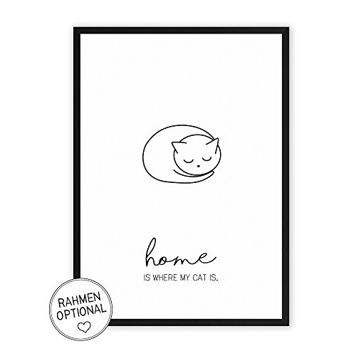 Home is where my Cat is - einzigartiger Kunstdruck mit Spruch auf wunderbarem Hahnemühle Papier DIN A4 -ohne Rahmen- schwarz-weiß - Typografie Wandbild Fine-Art-Print Dekoration Geschenk Geschenkidee Muttertag Bild Poster Plakat Home Deko shabby chic vintage retro Zuhause Katze