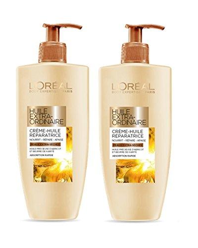 L'Oréal Huile Extraordinaire Lait-Crème Hydratant Réparateur pour Corps 250 ml - Lot de 2
