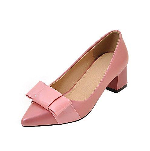 AllhqFashion Mujeres PU Sin Cordones Puntera EN Punta Tacón Medio Sólido Zapatos de Tacón, Rosa, 36