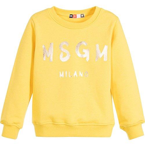 Felpa gialla girocollo MSGM logo oro 007286 (14, giallo)