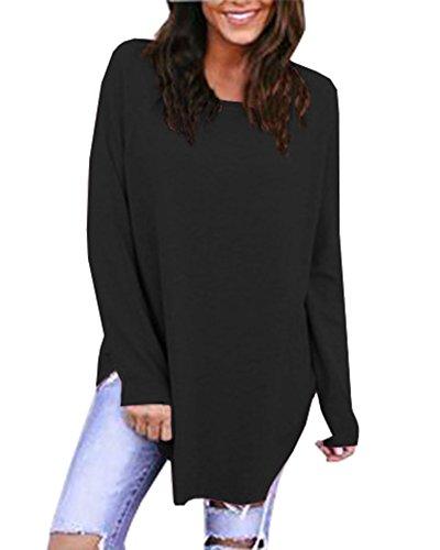 Anyu Donna Maniche Lunghe Girocollo Tops Tinta-Unita Camicia T-Shirt Nero