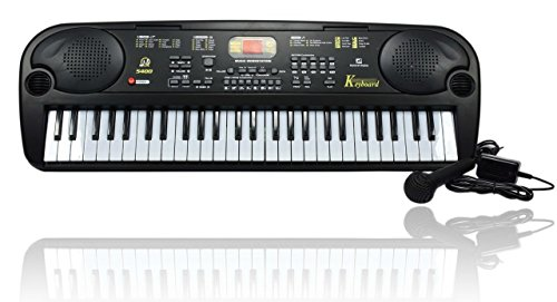 Glance Best Musical 54 Key Electronic Keyboard with Microphone and LED Display (Black)