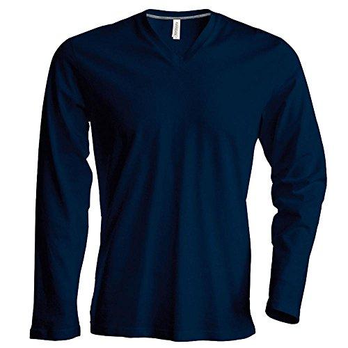 Langarm T-Shirt mit V-Ausschnitt Navy