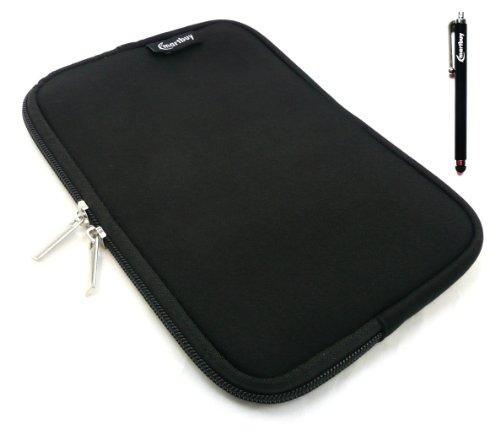 Emartbuy® Schwarz Stylus + Schwarz Wasser Resistant Neoprene Weich Zip Case Cover Tasche Hülle Sleeve Für I.onik TP - 1200QC 7.85 Inch Tablet (8 -Zoll-Tablet)