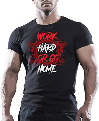 4cf334a0 Jurcom Printing Ltd Barbell Train Hard Or Go Home - Gym Motivation T-Shirt (