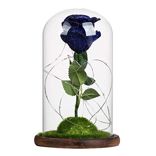 Jamicy LED Dekoration für Weihnachten, künstliche Blumen, romantische Glas Rose Hochzeitsdekoration Heimtextilien DIY Haus Garten Dekor (Dunkelblau)