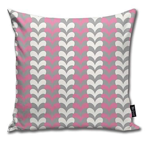 Rasyko - federa per cuscino decorativo, per san valentino, con cuori grigi e bianchi e rosa con motivo a zigzag, ideale come regalo per letto, auto, divano