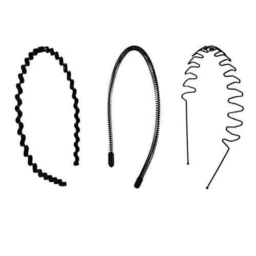 (Unsichtbare Stirnband Druck Haarwäsche Haarnadel Rücken Kopf Stereotyp Form Sport Erwachsener Komfort Nicht Verletzt Haar Männer Und Frauen Kopfbedeckung Schwarz Welle Metall ( Farbe : Three-piece ))